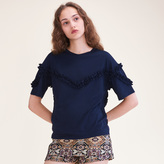 Maje T-shirt with frill detail