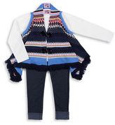 Little Lass Girls 2-6x Three-Piece Intarsia Fringed Sweater, Top and Leggings Set