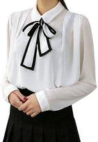 Azbro Women's Bow Tie Collar Long Sleeve Chiffon Blouse, M