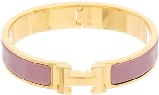 Hermes Gold-Plated & Purple Enamel Narrow Clic-Clac H Bracelet