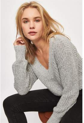Dynamite Deep V-Neck Knit Sweater - FINAL SALE Dove Wing/Black Marl