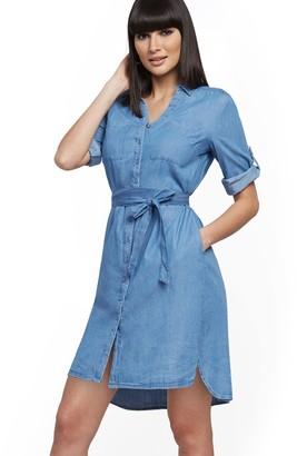 New York & Co. Belted Denim Shirtdress