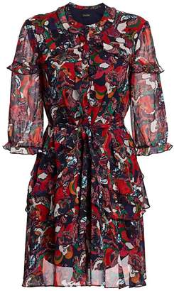 Saloni Tilly Paisley Multicolor Print Silk A-Line Shirtdress