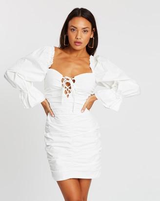 Missguided Cotton Poplin Lace-Up Puff Mini Dress