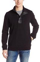 DKNY Men's Long Sleeve Fleece Quarter Snap Mock Neck Sweatshirt