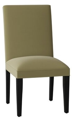 Sloane Whitney Princeton Upholstered Parsons Chair Body Fabric: Angela Cloud, Leg Color: Black Matte