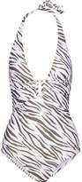 Heidi Klein Kalahari Ruched Printed Halterneck Swimsuit - White