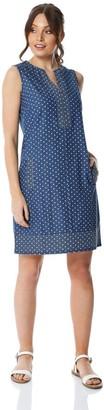 M&Co Roman Originals spot print denim shift dress