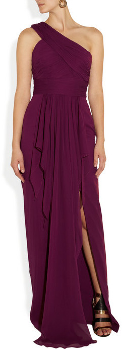 Notte by Marchesa One-shoulder draped silk-chiffon and silk gown