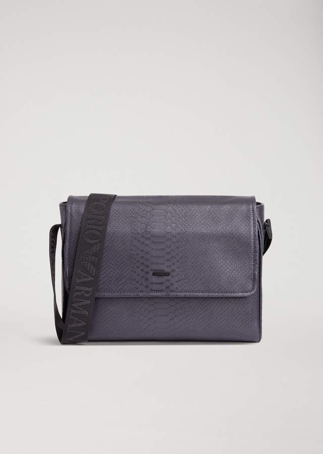 Emporio Armani Messenger Bag In Python Print Faux Leather