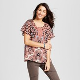 Knox Rose Women's Printed Flutter Sleeve Top with Cami - Knox Rose Terracotta