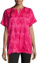 Etro Short-Sleeve Tonal Floral Jacquard Silk Blouse, Hot Pink