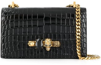 Alexander McQueen Jewelled crocodile-effect satchel