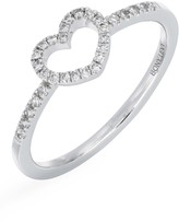Carriere Sterling Silver Pave Diamond Open Heart Ring - 0.13 ctw