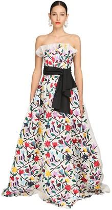 Carolina Herrera Embroidered Silk Gauze Gown