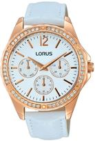 Lorus White Sunray Dial and Cystal Bezel With White Leather Strap Ladies Watch