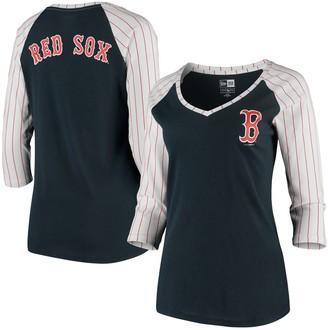 New Era Women's Navy Boston Red Sox Pinstripe Raglan 3/4-Sleeve V-Neck T-Shirt