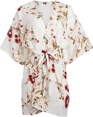 Lvs Collections LVS Collections Women's Kimono Cardigans WHITE - White Floral Tie-Waist Kimono - Women