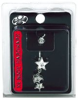 Pacific Piercing Supply X8 Body Hardware Crystal Stars Navel Dangle