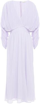 By Ti Mo Pleated Georgette Midi Dress