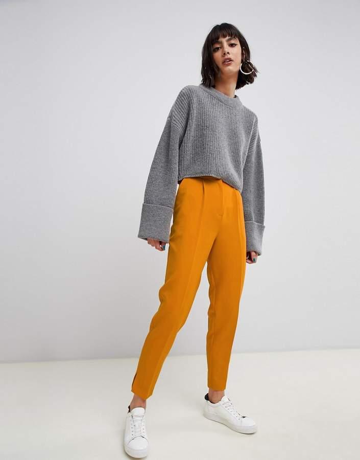 Asos Design DESIGN tapered trousers in mustard