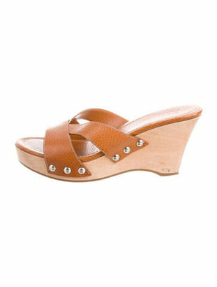 Prada Leather Wedge Sandals Tan