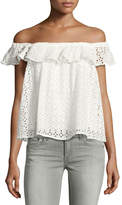 philosophy Off-the-Shoulder Eyelet Top, White