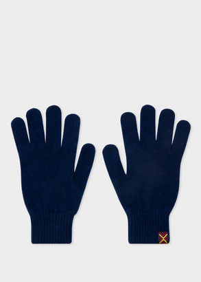 Paul Smith Men's Navy Lambswool Gloves With Tape Trim