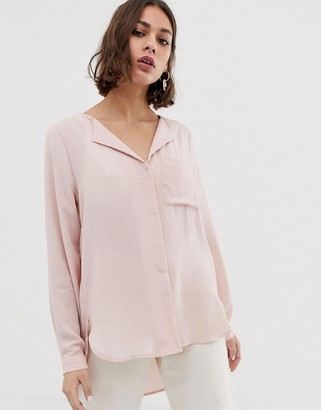 Selected Dynella rever collar shirt-Pink