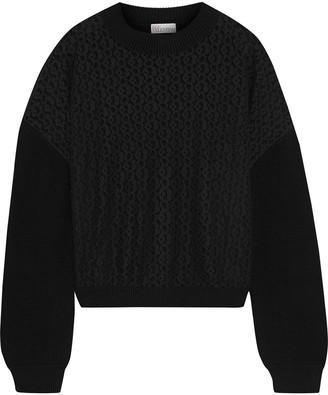 RED Valentino Corded Lace-paneled Cotton Sweater