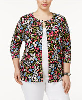 August Silk Plus Size Printed Cardigan
