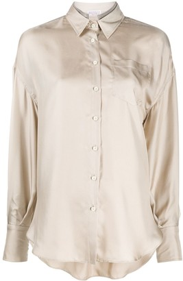 Brunello Cucinelli Brass-Embellished Long-Sleeved Shirt