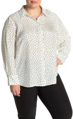 Lafayette 148 New York Scottie Dot Print Silk Blouse (Plus Size)
