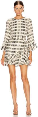 Saloni Marissa Mini B Dress in Cream & Black & Gold | FWRD
