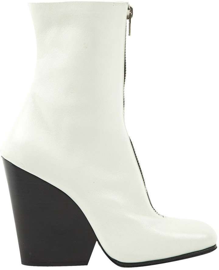 Celine White Leather Ankle boots