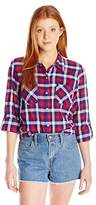 My Michelle Juniors' Plaid Button-Front Top with Roll-Tab Sleeves and Crochet Back Yoke