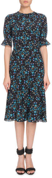 Altuzarra Short-Sleeve Floral-Print A-Line Silk Crepe de Chine Midi Dress