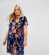Alice & You Oversized T-Shirt Dress In Floral Velvet
