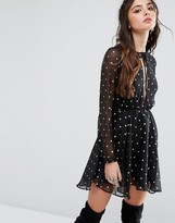 Lovers + Friends Metallic Spot Skater Dress