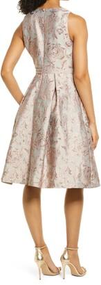 Eliza J Floral Brocade Sleeveless Fit & Flare Cocktail Dress