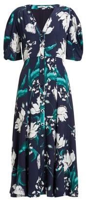 Erdem Gracelyn Floral-print Crepe Midi Dress - Womens - Navy Print