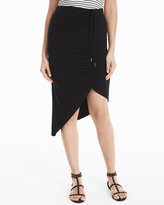 White House Black Market Asymmetrical Side-Ruched Knit Skirt