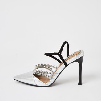 River Island Womens Silver diamante strappy court shoes