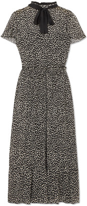 RED Valentino Pussy-bow Leopard-print Silk-blend Chiffon Midi Dress