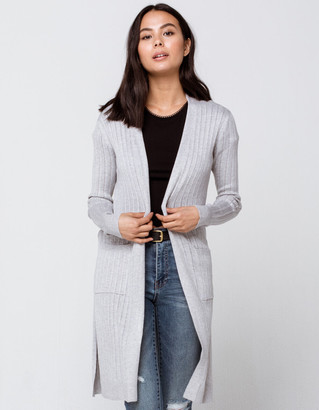 Sky And Sparrow Rib Pocket Womens Heather Gray Cardigan