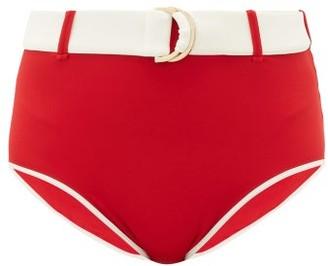 Odyssee - Azur Belted High-rise Bikini Briefs - Womens - Red Multi