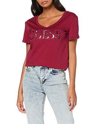 GUESS Women's Ss Vn Tee T-Shirt,Medium
