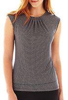 Liz Claiborne Cap-Sleeve Pleat-Neck Top