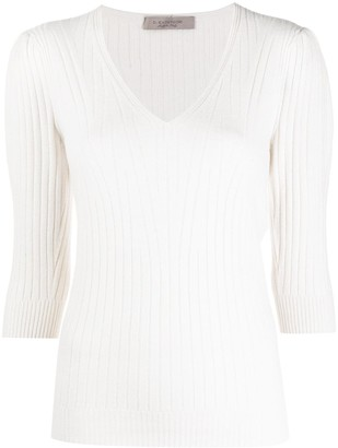 D-Exterior Ribbed Knit Jumper