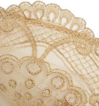 I.D. Sarrieri Noir Comme La Robe Metallic Embroidered Tulle Underwired Triangle Bra